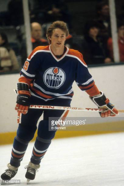Wayne Gretzky of the Edmonton Oilers skates during warm ups before the game against the New York Rangers on March 4, 1981 at the Madison Square...