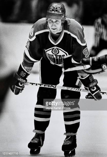 Wayne Gretzky of the Edmonton Oilers skates on the ice during a game against the Los Angeles Kings at The Forum Inglewood California
