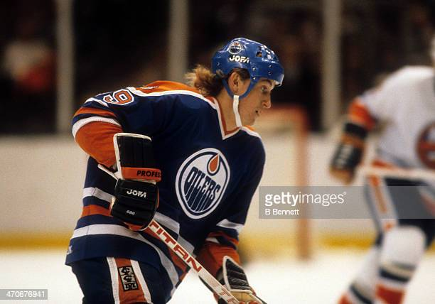 Wayne Gretzky of the Edmonton Oilers skates on the ice during an NHL game against the New York Islanders on November 14, 1981 at the Nassau Coliseum...