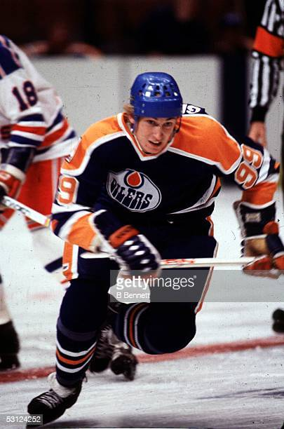 Wayne Gretzky of the Edmonton Oilers skates on the ice during an NHL game against the New York Rangers on October 24 1979 at the Madison Square...