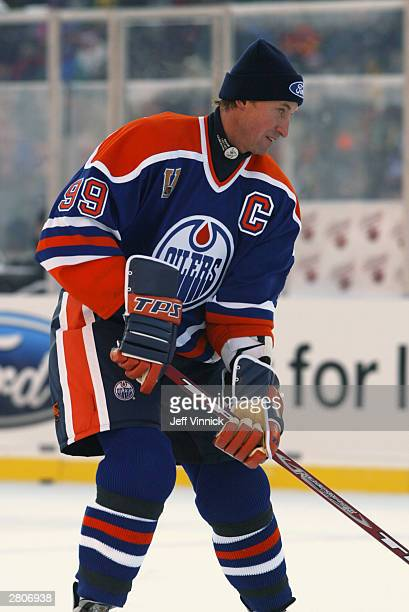 Wayne Gretzky of the Edmonton Oilers warms up prior to takin on the Montreal Canadiens in the Molson Canadien Heritage Classic Megastars Game on...