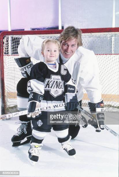 Wayne Gretzky of the Los Angeles Kings and son Ty Gretzky on November 4 1993 at the Great Western Forum in Inglewood California