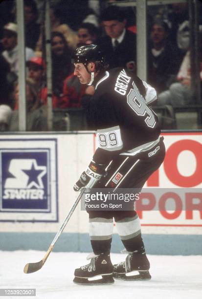 Wayne Gretzky of the Los Angeles Kings skates against the New Jersey Devils during an NHL Hockey game circa 1994 at the Brendan Byrne Arena in East...