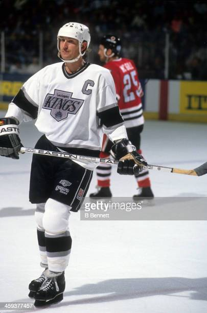 Wayne Gretzky of the Los Angeles Kings skates on the ice during an NHL game against the Chicago Blackhawks on March 14 1991 at the Great Western...
