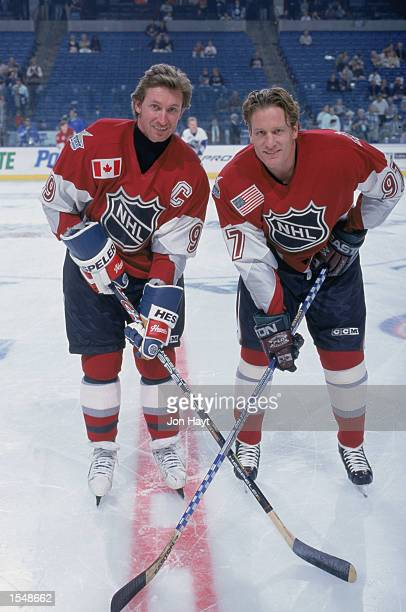 Wayne Gretzky of the New York Rangers poses for a picture with teammate Jeremy Roenick of the Phoenix Coyotes and both from North America before the...
