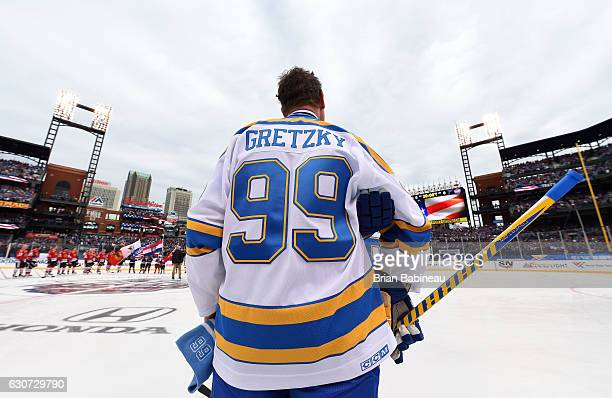 Wayne Gretzky of the St Louis Blues looks on prior to the 2017 Bridgestone NHL Winter Classic Alumni Game at Busch Stadium on December 31 2016 in St...