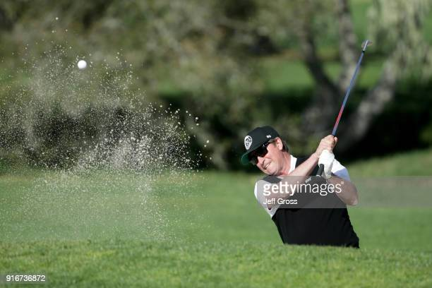 Wayne Gretzky plays his shot from the bunker on the second hole during Round Three of the ATT Pebble Beach ProAm at Pebble Beach Golf Links on...
