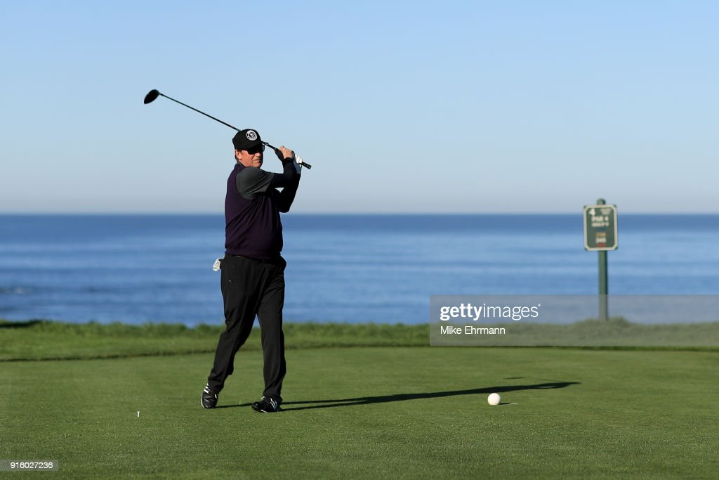 Wayne Gretzky plays his shot from the fourth tee during Round One of the AT&T Pebble Beach Pro-Am at Spyglass Hill Golf Course on February 8, 2018 in Pebble Beach, California.