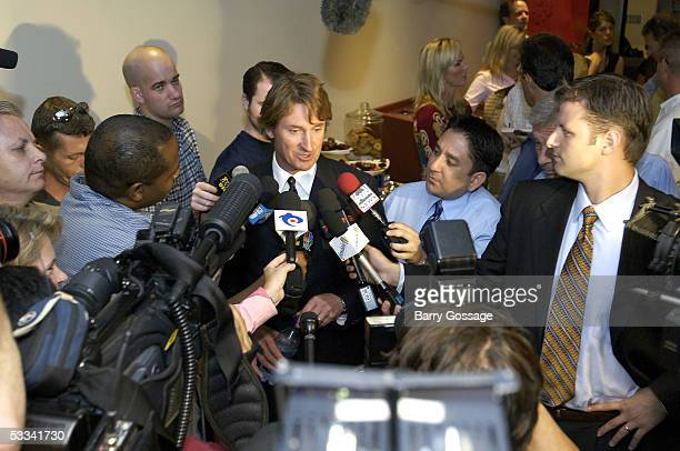 Wayne Gretzky speaks to the media after being announced as the new head coach of the Phoenix Coyotes on August 8 2005 at Glendale Arena in Glendale...