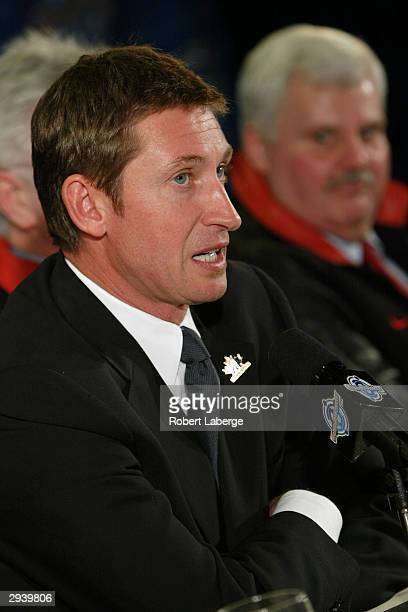 Wayne Gretzky speaks to the media during the announcement of coaches for Team Canada of the 2004 World Cup Hockey on February 6, 2004 at the Marriott...