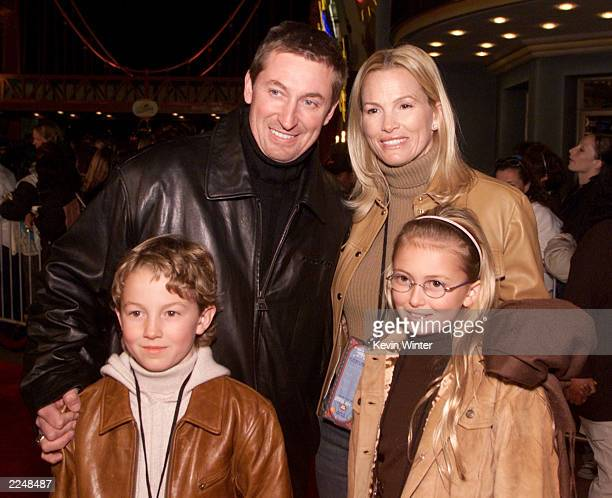 Wayne Gretzky wife Janet and children Ty and Paulina arrive at Disney's California Adventure for a private preopening party for celebrities and...