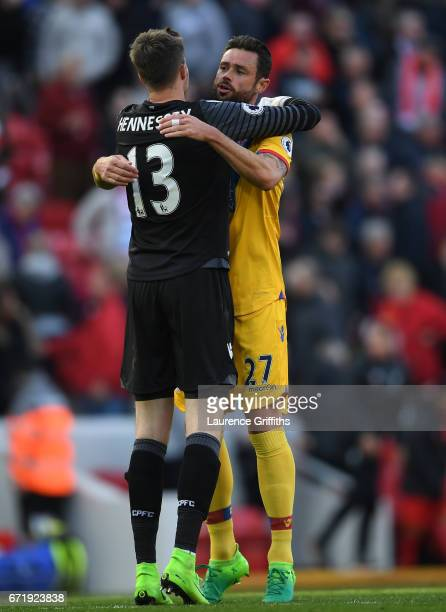 Wayne Hennessey and Damien Delaney of Crystal Palace celebrate their 21 victory in the Premier League match between Liverpool and Crystal Palace at...