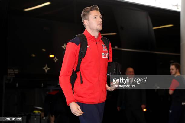 Wayne Hennessey of Crystal Palace arrives at the stadium prior to the Premier League match between West Ham United and Crystal Palace at London...