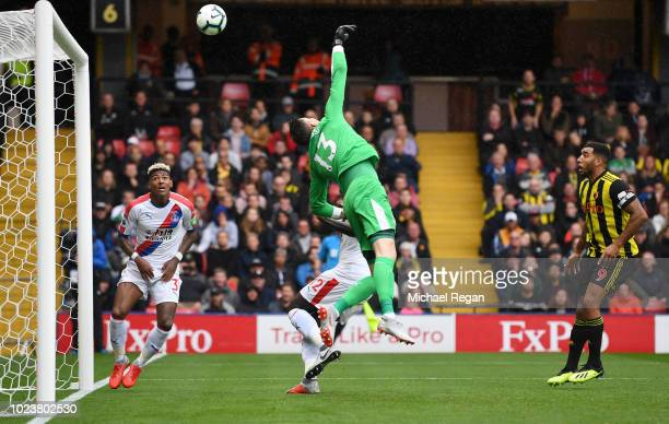 Wayne Hennessey of Crystal Palace attempts to save the second goal scored by Jose Holebas of Watford during the Premier League match between Watford...
