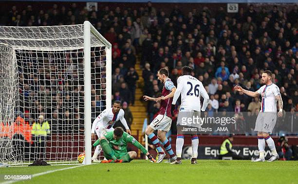 Wayne Hennessey of Crystal Palace can't stop Joleon Lescott of Aston Villa's header crossing the line during the Barclays Premier League match...