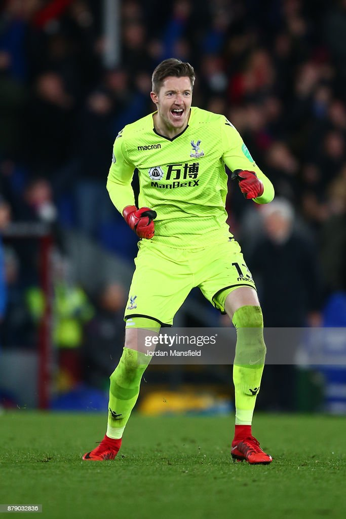 Wayne Hennessey of Crystal Palace celebrates his sides second goal during the Premier League match between Crystal Palace and Stoke City at Selhurst Park on November 25, 2017 in London, England.