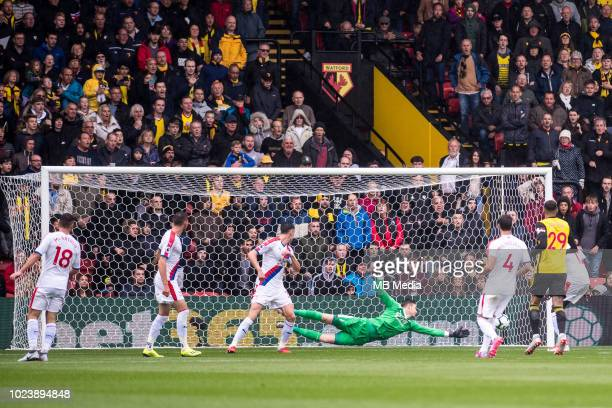 Wayne Hennessey of Crystal Palace concedes a goal from Roberto Pereyra of Watfrod during the Premier League match between Watford FC and Crystal...