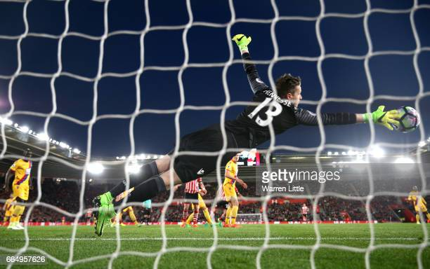 Wayne Hennessey of Crystal Palace makes a save during the Premier League match between Southampton and Crystal Palace at St Mary's Stadium on April 5...