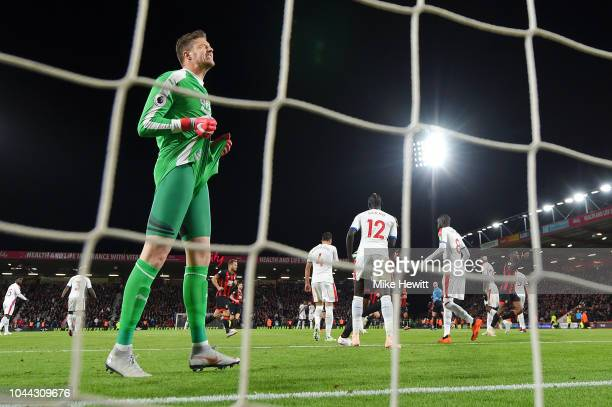 Wayne Hennessey of Crystal Palace reacts after he fails to save a penalty kick from Junior Stanislas of AFC Bournemouth during the Premier League...