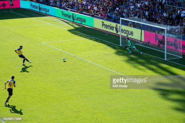 Wayne Hennessey of Crystal Palace saves a penalty shot taken by Charlie Austin of Southampton during the Premier League match between Crystal Palace...