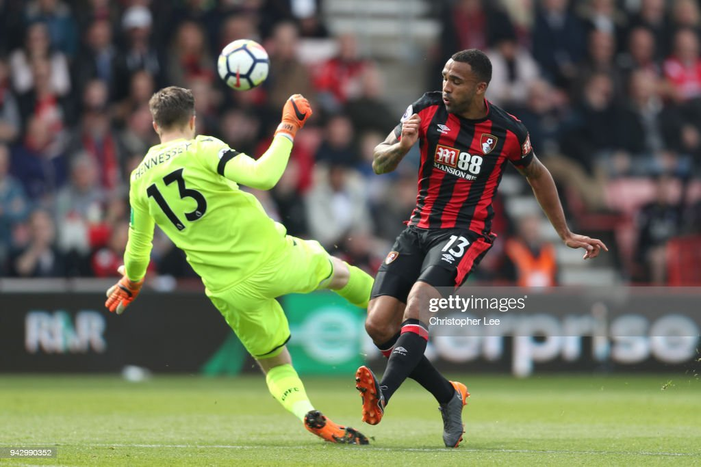 Wayne Hennessey of Crystal Palace saves a shot from Callum Wilson of AFC Bournemouth during the Premier League match between AFC Bournemouth and Crystal Palace at Vitality Stadium on April 7, 2018 in Bournemouth, England.