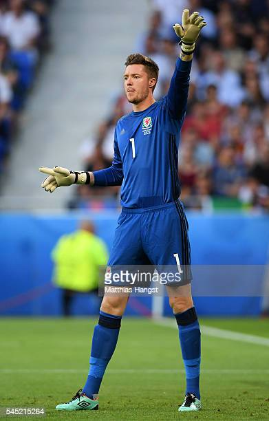 Wayne Hennessey of Wales gestures during the UEFA EURO 2016 semi final match between Portugal and Wales at Stade des Lumieres on July 6 2016 in Lyon...