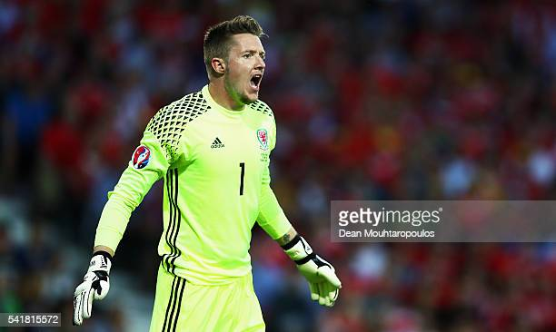 Wayne Hennessey of Wales shouts during the UEFA EURO 2016 Group B match between Russia and Wales at Stadium Municipal on June 20 2016 in Toulouse...