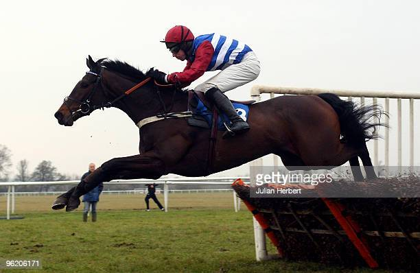 Wayne Hutchinson and Mille Chief clear the last flight before landing Division Two of The Huntingdon Racecourse For Outside Events Novices' Hurdle...