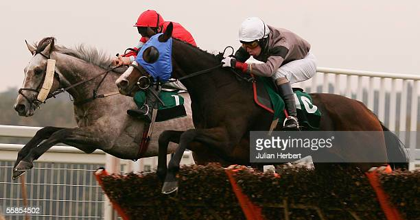 Wayne Hutchinson and the visored Banninghamham Blaze clear the last flight in company with the Andrew Glasonbury ridden Nick The Silver before...