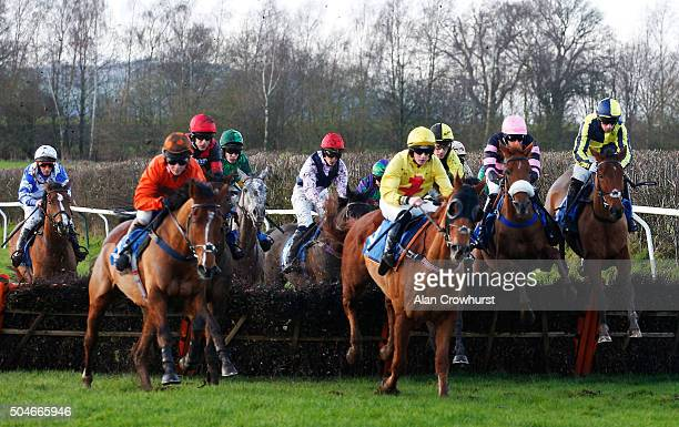 Wayne Hutchinson riding Battle Of Shiloh on their way to winning The racingukcom/winterseasonticket Maiden Hurdle at Ludlow racecourse on January 12...