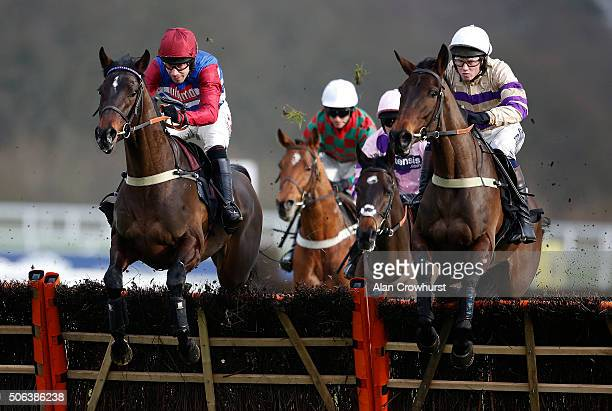 Wayne Hutchinson riding Gibralfaro on their way to winning The Ascot Supporting Our Local Community Juvenile Hurdle Race at Ascot racecourse on...