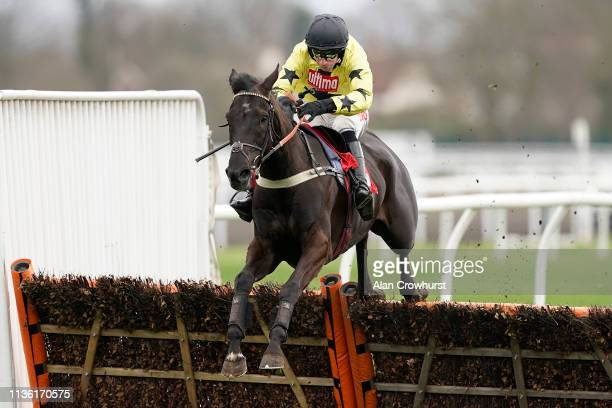 Wayne Hutchinson riding Harambe clear the last to win The Matchbook Betting Exchange Novices' Hurdle at Kempton Park on March 16 2019 in Sunbury...