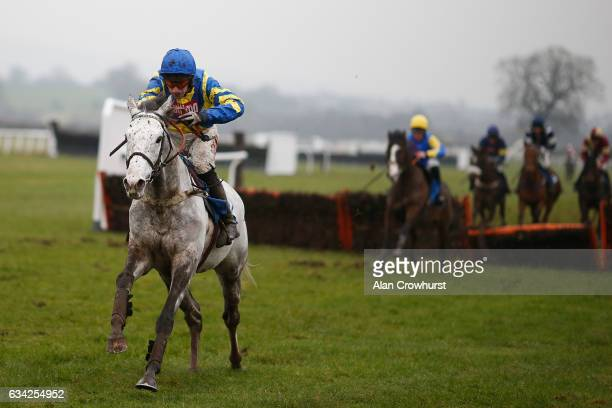 Wayne Hutchinson riding Master Blueyes clear the last to win The Weatherbys Hamilton Juvenile Hurdle Race at Ludlow racecourse on February 8 2017 in...