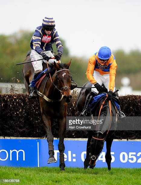 Wayne Hutchinson riding Midnight Prayer clear the last to win The Walls And Ceilings International Novices' Limited Handicap Steeple Chase as Aidan...