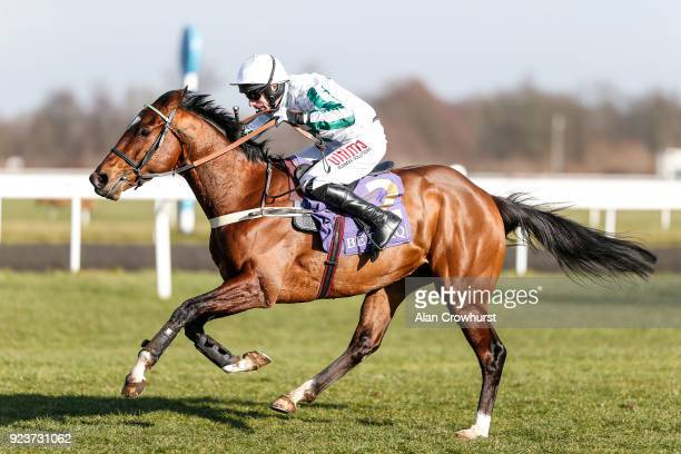 Wayne Hutchinson riding Redicean clear the last to win The Betdaq #changingforthebettor Adonis Juvenile Hurdle Race at Kempton Park racecourse on...