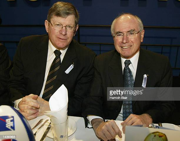 Wayne Jackson Chief Executive Officer of the AFL with John Howard Prime Minister of Australia at the Kangaroos Grand Final Breakfast held at Colonial...
