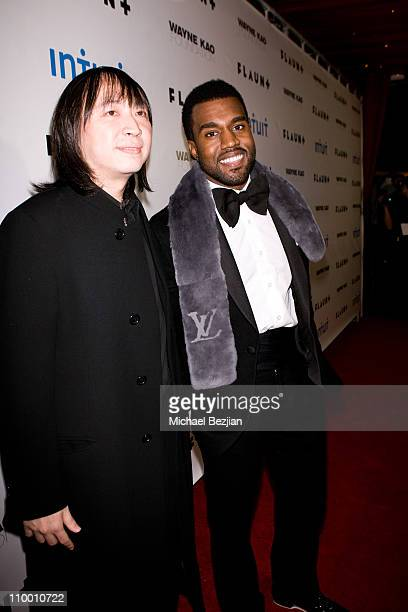 Wayne Kao and Kanye West arrive at Flaunt Magazine's 10th Anniversary Party and Annual Holiday Toy Drive at the Wayne Kao Mansion on December 18th...
