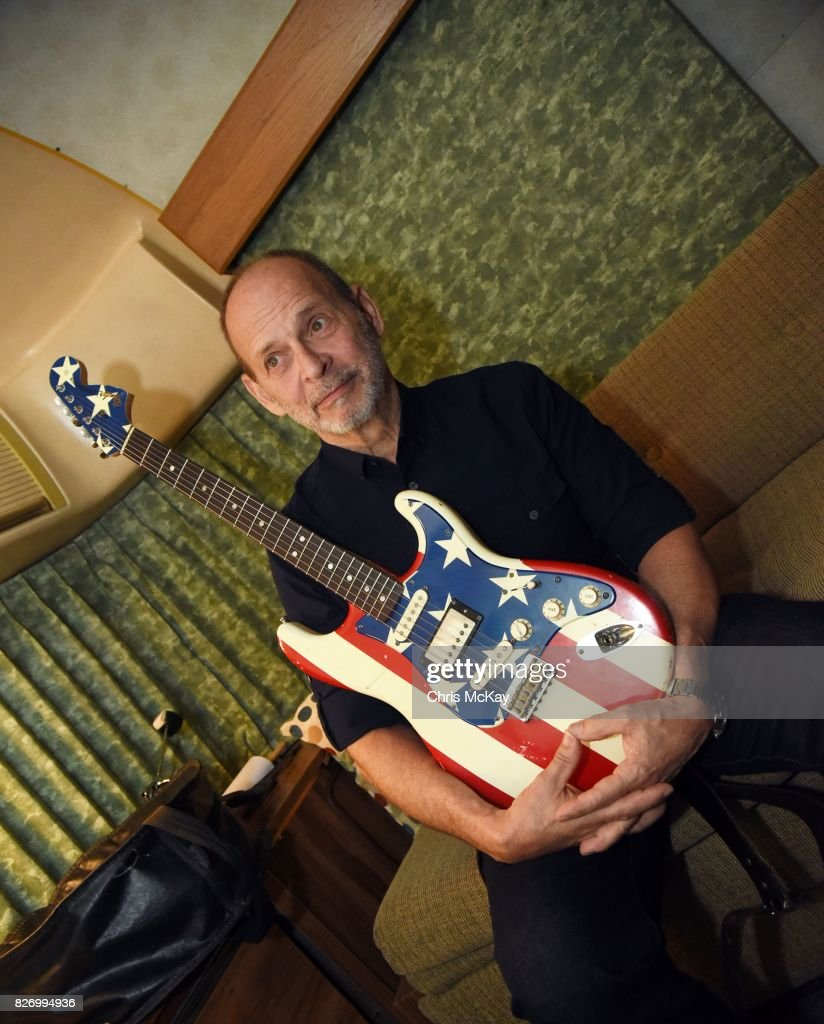 Wayne Kramer from MC5 backstage with his famous American Flag Fender Statocaster at The Office on August 5, 2017 in Athens, Georgia.