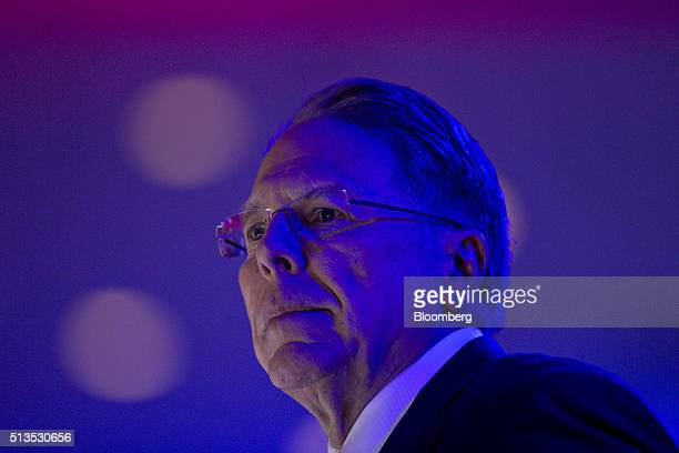 Wayne LaPierre chief executive of the National Rifle Association pauses during a video while speaking at the American Conservative Unions...