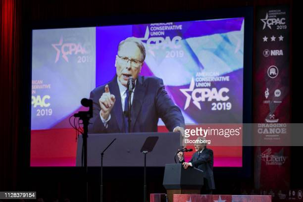 Wayne LaPierre chief executive officer of the National Rifle Association speaks during the Conservative Political Action Conference in National...