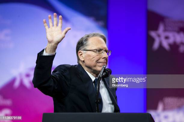 Wayne LaPierre chief executive officer of the National Rifle Association waves after speaking during the Conservative Political Action Conference in...