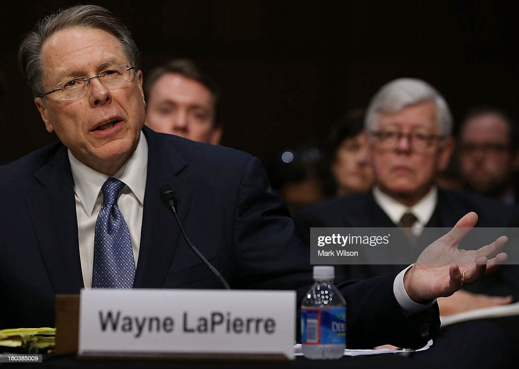 Wayne LaPierre Executive Vice President and CEO of the National Rifle Association testifies while NRA President David Keene (R) listens during a Senate Judiciary Committee hearing on gun violence, January 30, 2013 in Washington, DC. The committee is hearing testimony on what can be done to curb gun violence in America.