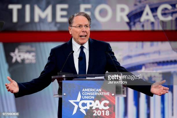 Wayne LaPierre Executive Vice President of the National Rifle Association speaks during the 2018 Conservative Political Action Conference in Oxon...