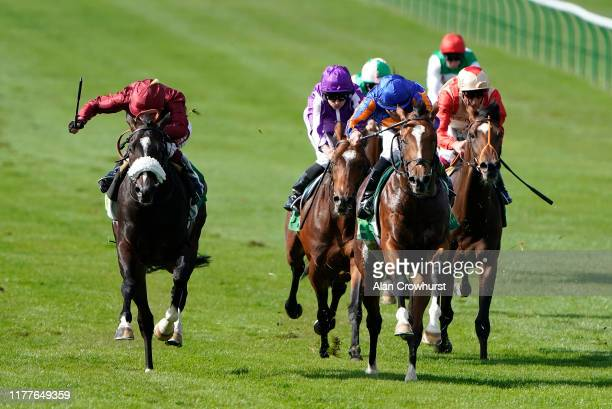 Wayne Lordan riding Royal Dornoch win The Juddmonte Royal Lodge Stakes at Newmarket Racecourse on September 28 2019 in Newmarket England
