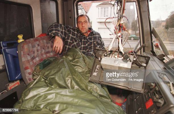 Wayne Lyle in his cab today after staying in a Hotel last night paid for by the striking French lorry driver as his cab is to small Pictured today at...
