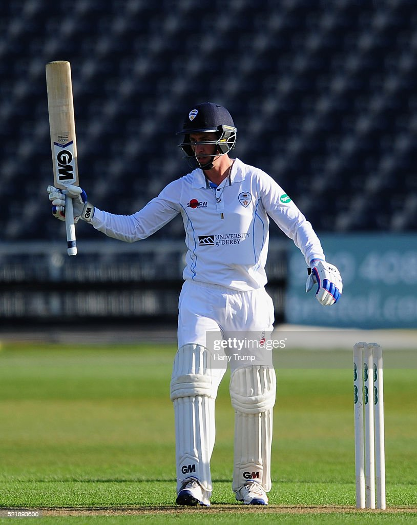 Wayne Madsen of Derbyshire celebrates his half century during Day One of the Specsavers County Championship Division Two match between Gloucestershire and Derbyshire at The County Ground on April 17, 2016 in Bristol, England.