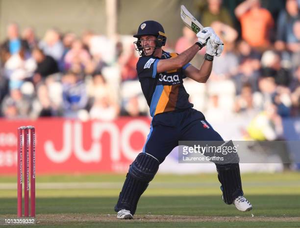 Wayne Madsen of Derbyshire Falcons hits out to the boundary during the Vitality Blast match between Derbyshire Falcons and Northampton Steelbacks at...