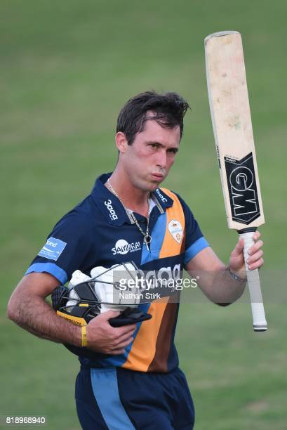 Wayne Madsen of Derbyshire Falcons raises his bat after scoring 58 runs during the NatWest T20 Blast match between Worcestershire Rapids and...