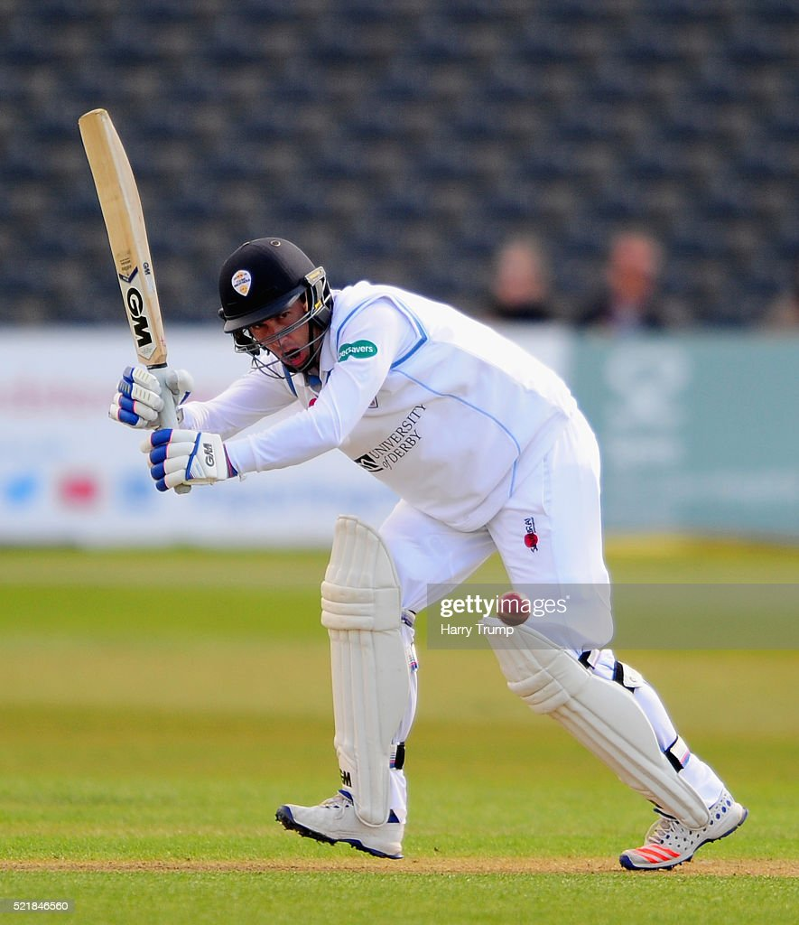 Wayne Madsen of Derbyshire flicks the ball during Day One of the Specsavers County Championship Division Two match between Gloucestershire and Derbyshire at The County Ground on April 17, 2016 in Bristol, England.