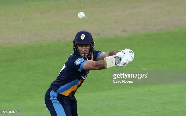 Wayne Madsen of Derbyshire guides the ball for four runs during the NatWest T20 Blast match between Nottinghamshire Outlaws and Derbyshire Falcons at...